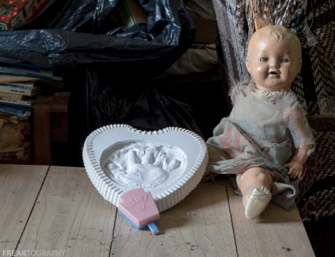 Freaktography, abandoned, abandoned photography, abandoned places, baby, creepy, decay, derelict, hand print, haunted, haunted places, heinz 57 baby rattle, photography, rattle, shaker, urban exploration, urban exploration photography, urban explorer, urban exploring