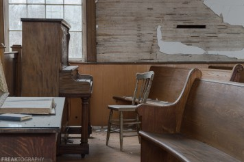 50mm, Abandoned Church, Freaktography, abandoned, abandoned photography, abandoned places, chair, church, creepy, decay, derelict, haunted, haunted places, pew, photography, piano, prime, urban exploration, urban exploration photography, urban explorer, urban exploring