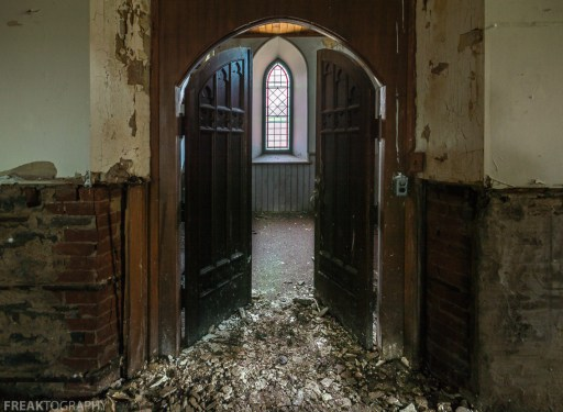 Abandoned Church, Freaktography, abandoned, abandoned photography, abandoned places, arches, church, church abandoned, creepy, decay, derelict, doors, haunted, haunted places, photography, stained glass, urban exploration, urban exploration photography, urban explorer, urban exploring, vacant church
