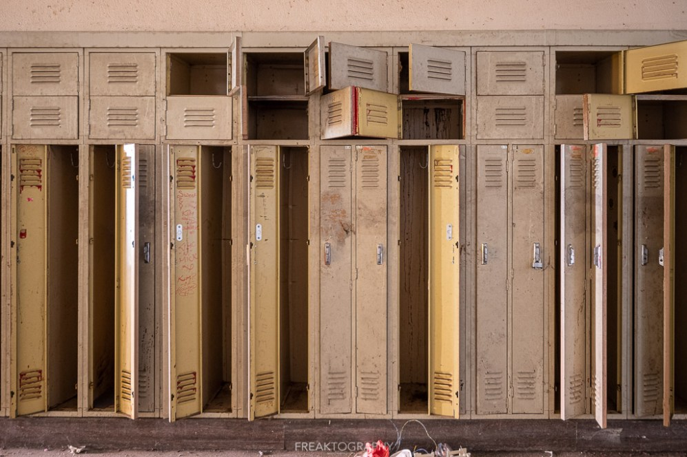 abandoned detroit cooley high school lockers