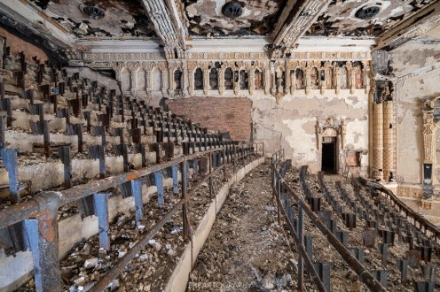 abandoned detroit cooley high school theatre balcony seats