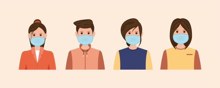 People Wearing Masks Flat Illustrations
