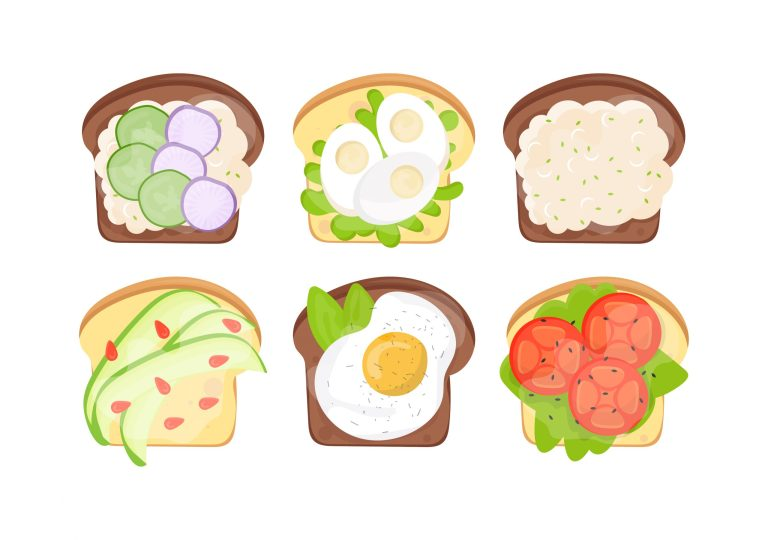 Flat Vector Set of Bread Slices