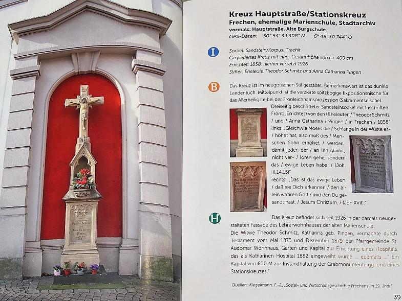 """Frechener Geschichtsverein (Hrsg.): """"Frechener Wegekreuze"""", Band 7, 2019, Seiten 38 und 39: Stationskreuz an der Hauptstraße, Ehemalige Marienschule"""