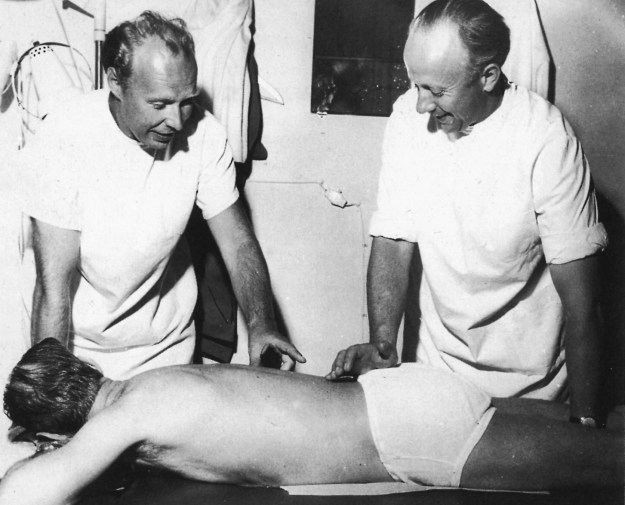 Freddy Kaltenborn and Albert Cramer teaching a Chiropractic course to Nordic physicians in Oslo, Norway, 1959. (Picture courtesy Arbeiderbladet, 1959)