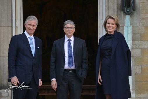 Bill Gates a ete recu en audience par le Roi Philippe et la Reine Mathilde de Belgique au Palais Royal de Bruxelles. Bruxelles, le 16 fevrier 2017, Belgique