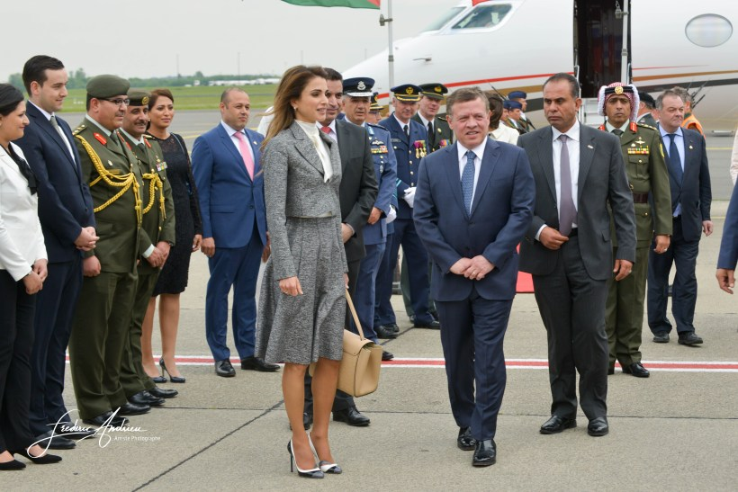 King Abdullah II and Queen Rania Al-Abdullah of Jordan at the official arrival at the Brussels military airport for a state visit to Belgium. Brussels, May 17, 2016, Belgium
