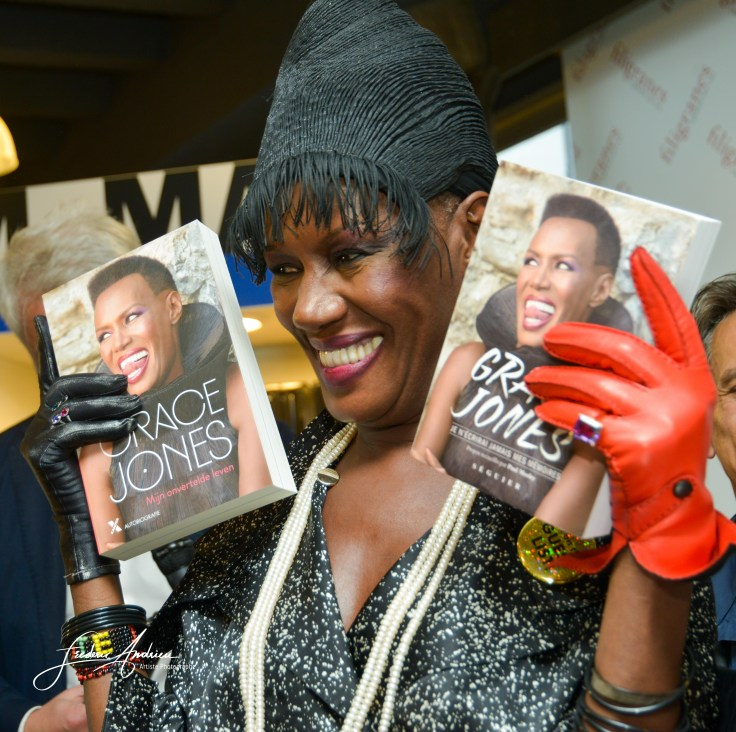 Grace Jones during the presentation of her new book in the Filigranes Library in Brussels Brussels, 20 mei 2015, Belgium