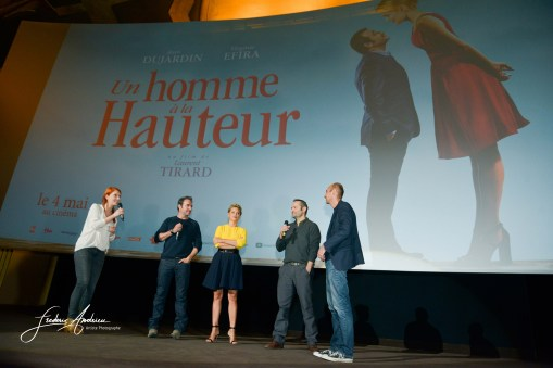 "Virginie Efira, Jean Dujardin,Cedric Kahn et Laurent Tirard during the preview of the film ""Un homme à la hauteur"", Brussels, 25 April 2016, Belgium"