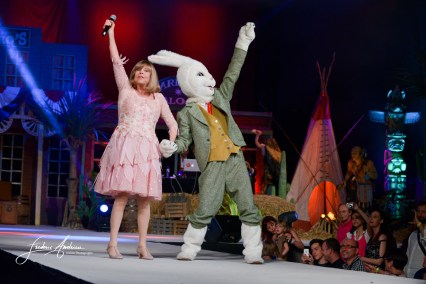 """Chantal Goya in show case """"in the final of Top Model Belgium Kids"""" fashion contest for children. When the final singer always very close to his audience took its greatest success for both parents and children. Colfontaine, June 7, 2015, Belgium"""