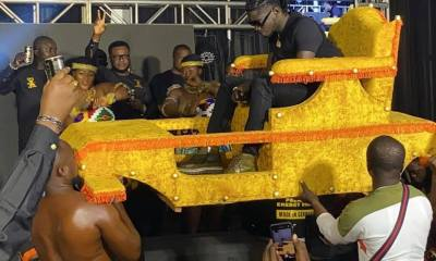 Kingship Lifestyle: Kuami Eugene Rides In A Palanquin To Adonko Next Level Launch (Video)