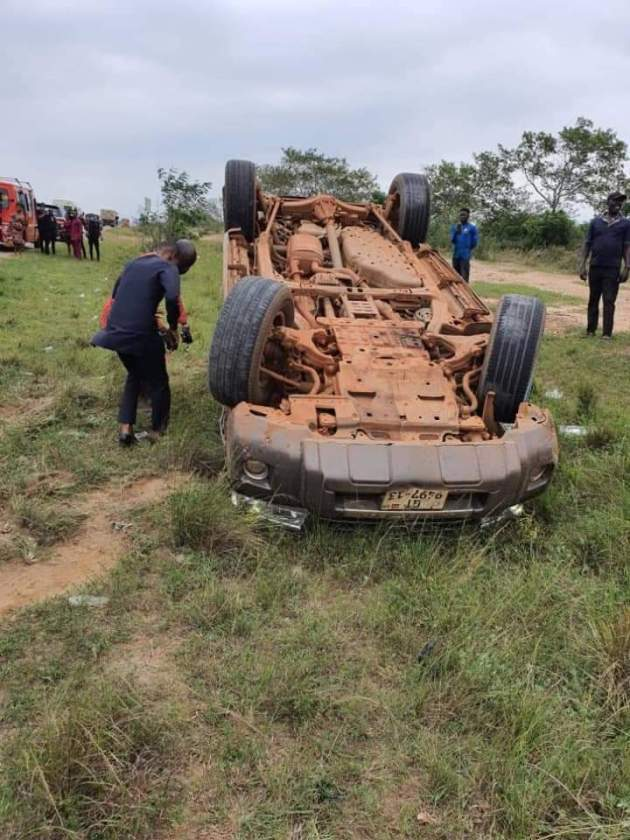 , Photos: NDC MP escapes death after car somersaults twice in Volta Region, Frederick Nuetei