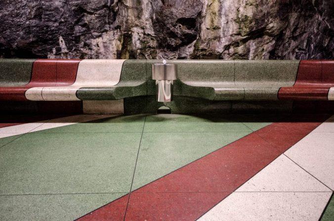 Kunstradgarden subway benches and rocks - Stockholm, Sweden