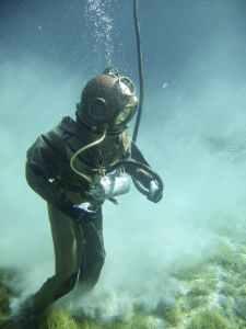 vintage underwater diving diving suit