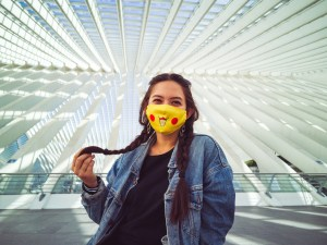 Portrait in liege guillemins with a pikachu mouthmask