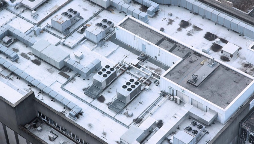 industrial building aerial view