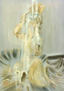 Tritone fountain 1996, mixed media on canvas, 145x90cm