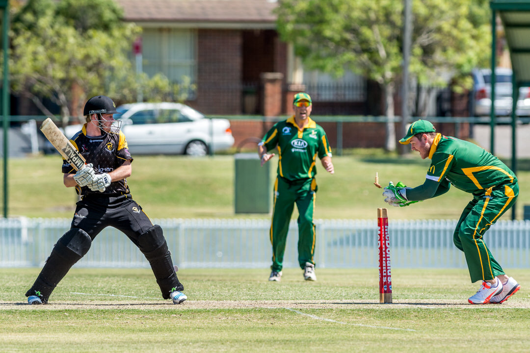 Stumped! Blacktown Cricket Club batsmen caught out of his crease playing against Hawkesbury Cricket Club
