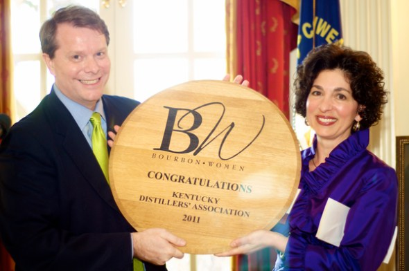 The Bourbon Women organization was founded in 2011. Eric Gregory, KDA president (left), and Peggy Noe Stevens, founder of BW. The fact this organization's kickoff meeting was in the Kentucky Governor's mansion shows how far bourbon clubs have come.