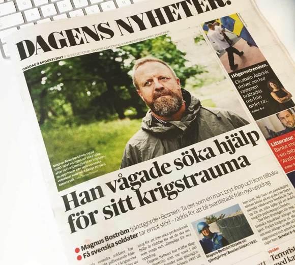Dagens Nyheters framsida - artikel om utlandsveteraner