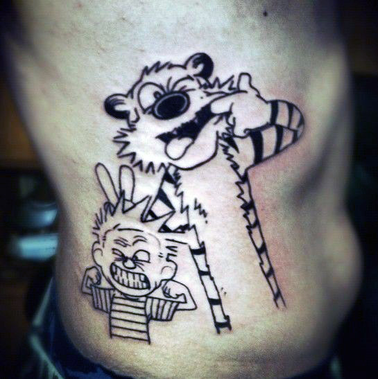 black-ink-outline-guys-calvin-and-hobbes-rib-cage-side-of-body-tattoo