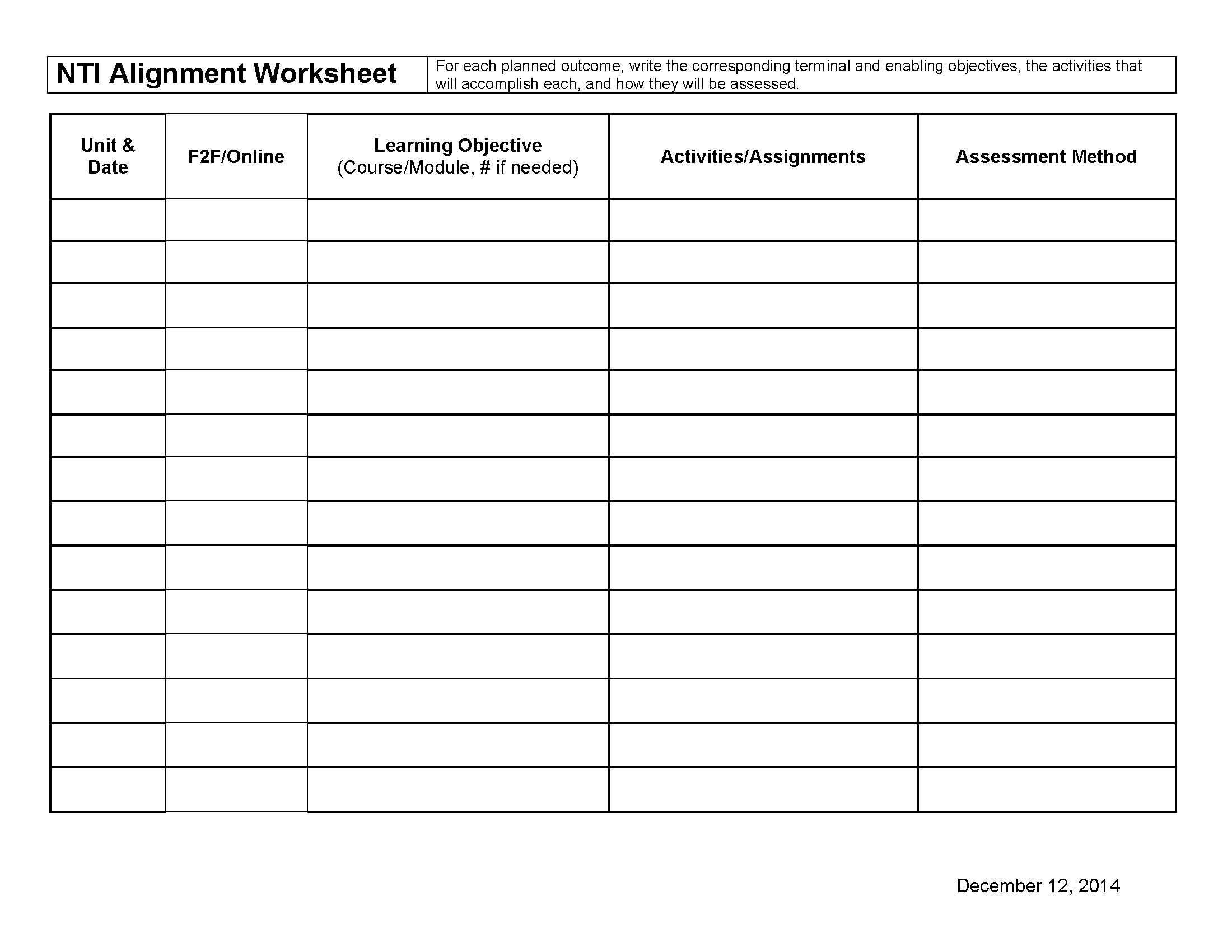 Hybrid Course Alignment Worksheet