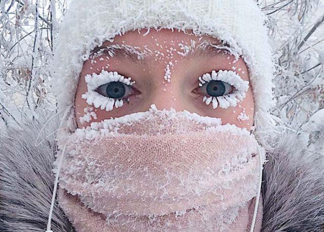 visage dans le froid