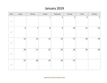Printable Monthly Calendar 2019 Free Calendar Template2017 Monthly