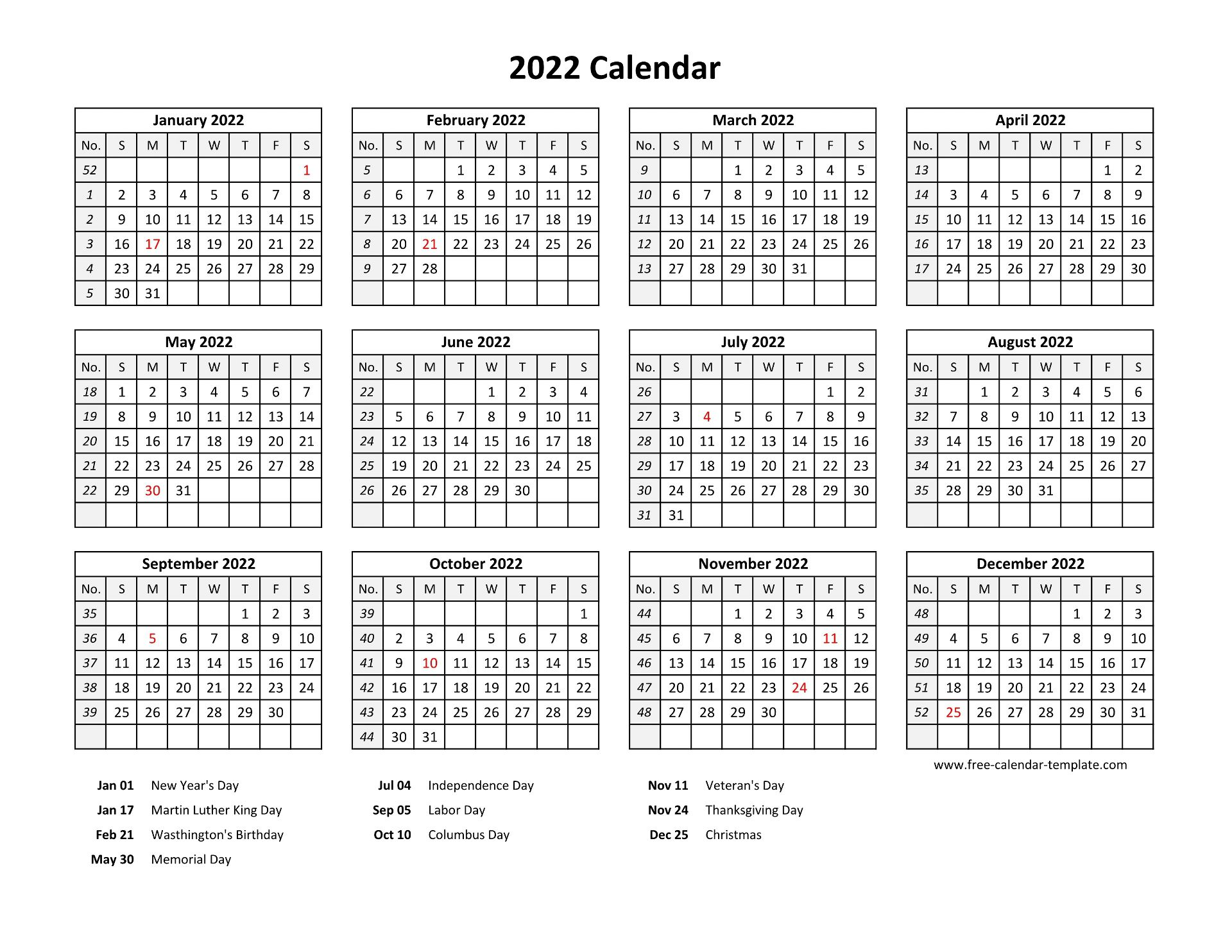 Download this free printable 2022 yearly calendar blank template in a classically designed landscape format word document. Printable yearly calendar 2022 with US holidays   Free ...