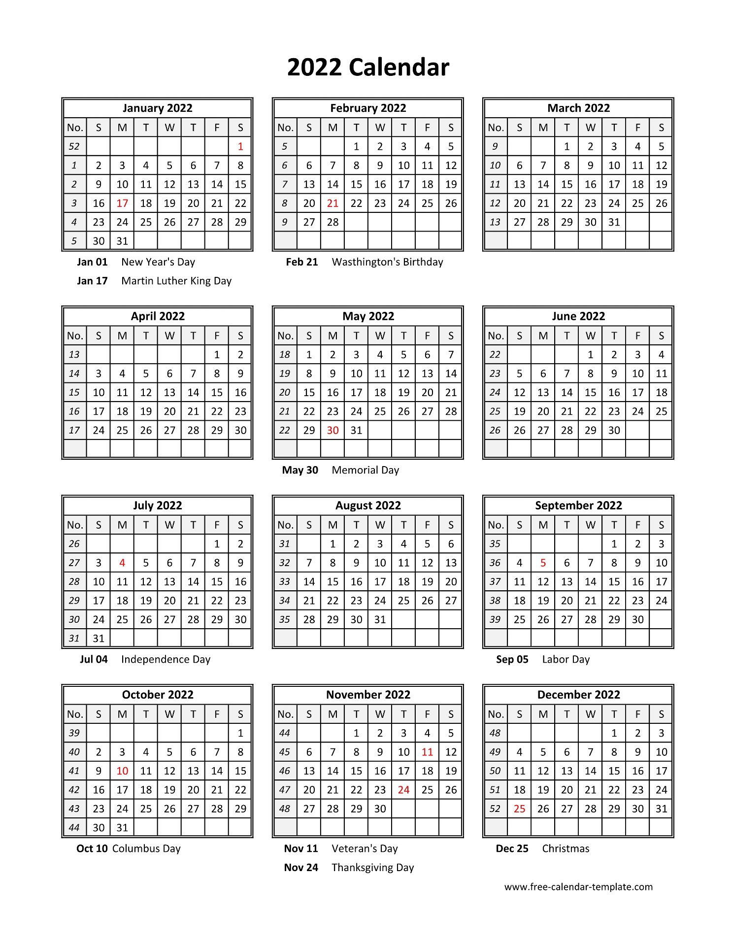 Yearly printable calendar 2022 with holidays | Free ...