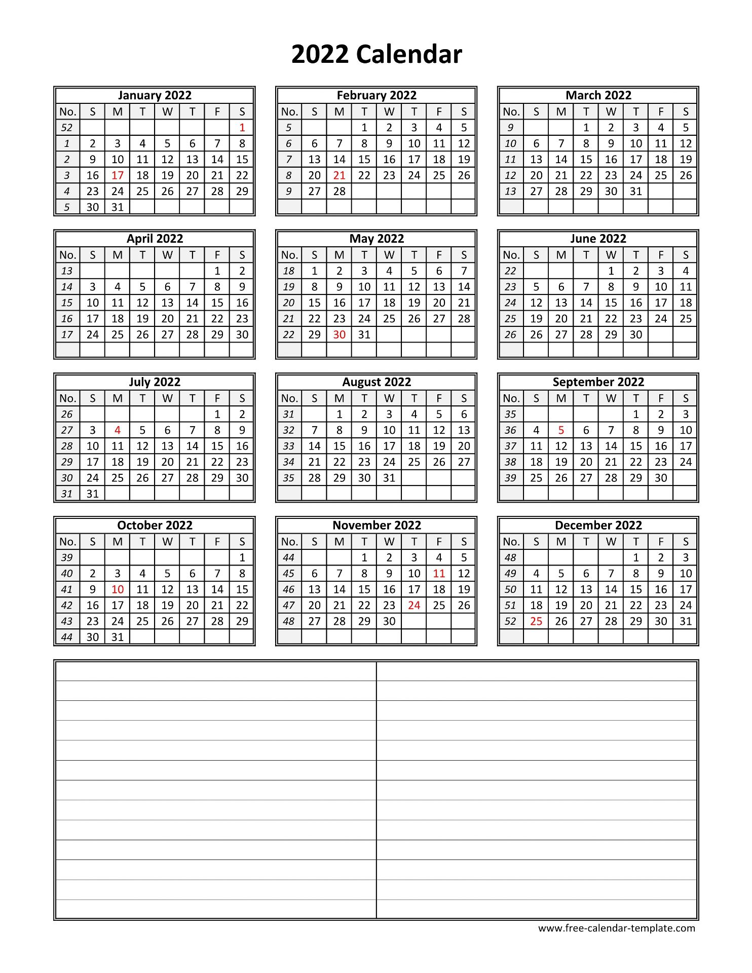 Yearly 2022 printable calendar with space for notes | Free ...