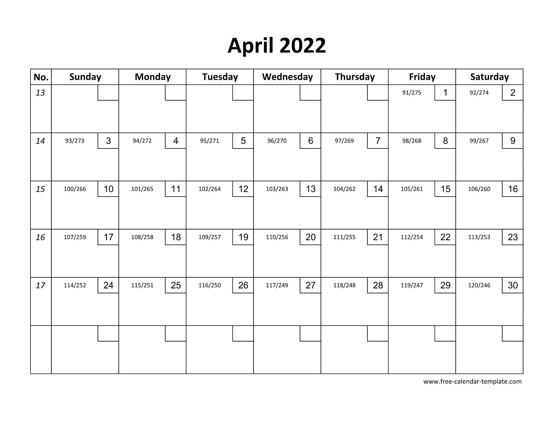 April Calendar 2022 Printable with checkboxes (horizontal ...