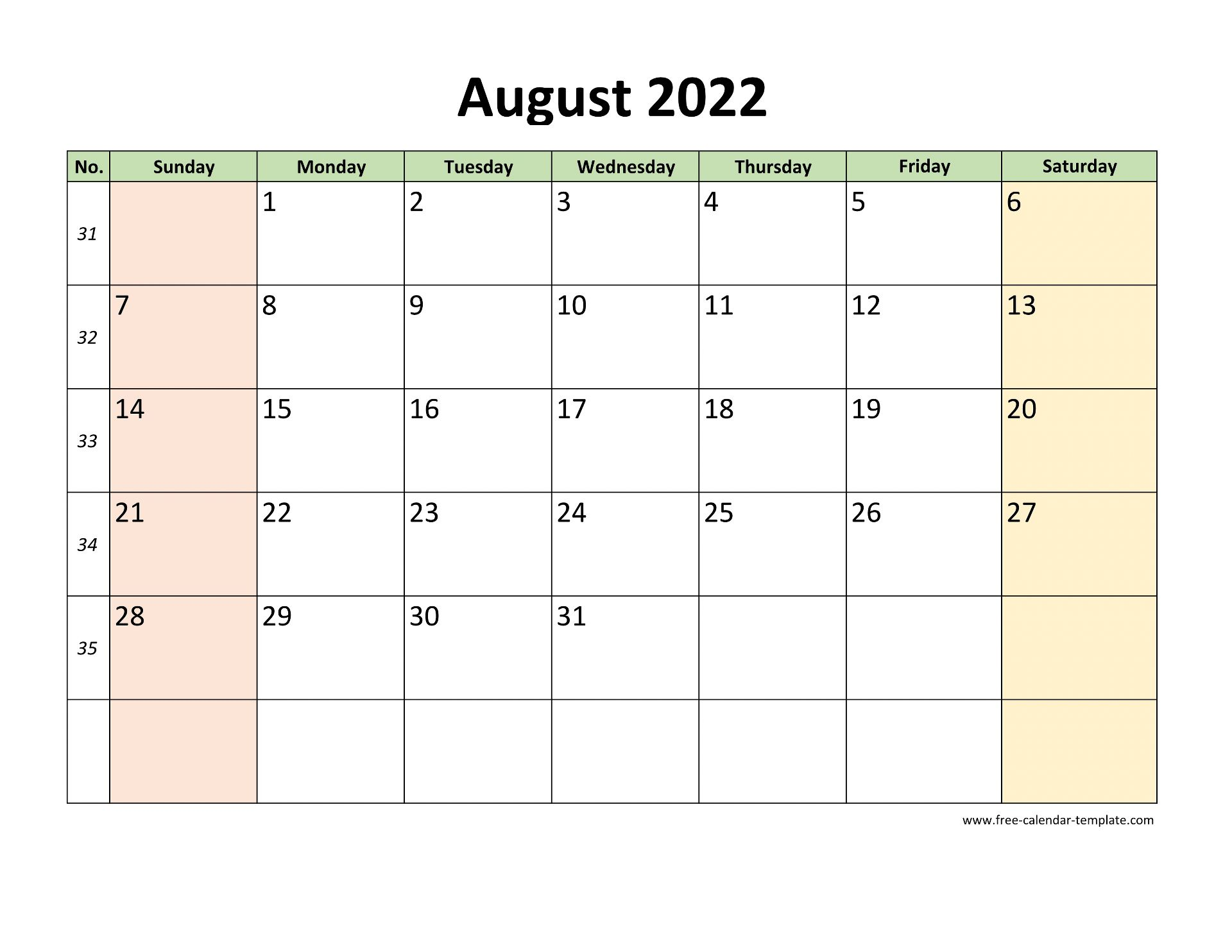 August 2022 Calendar Printable with coloring on weekend ...