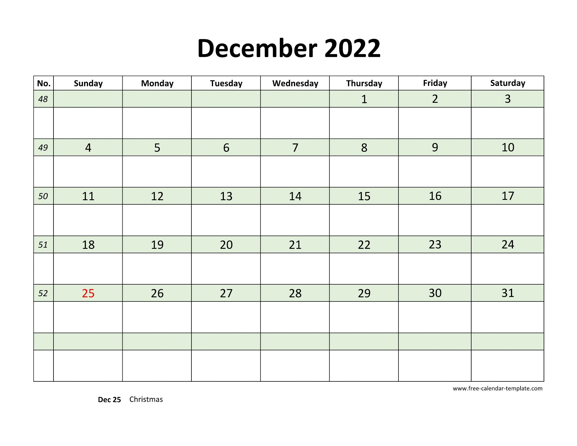 Free December 2022 Calendar, coloring on each day ...