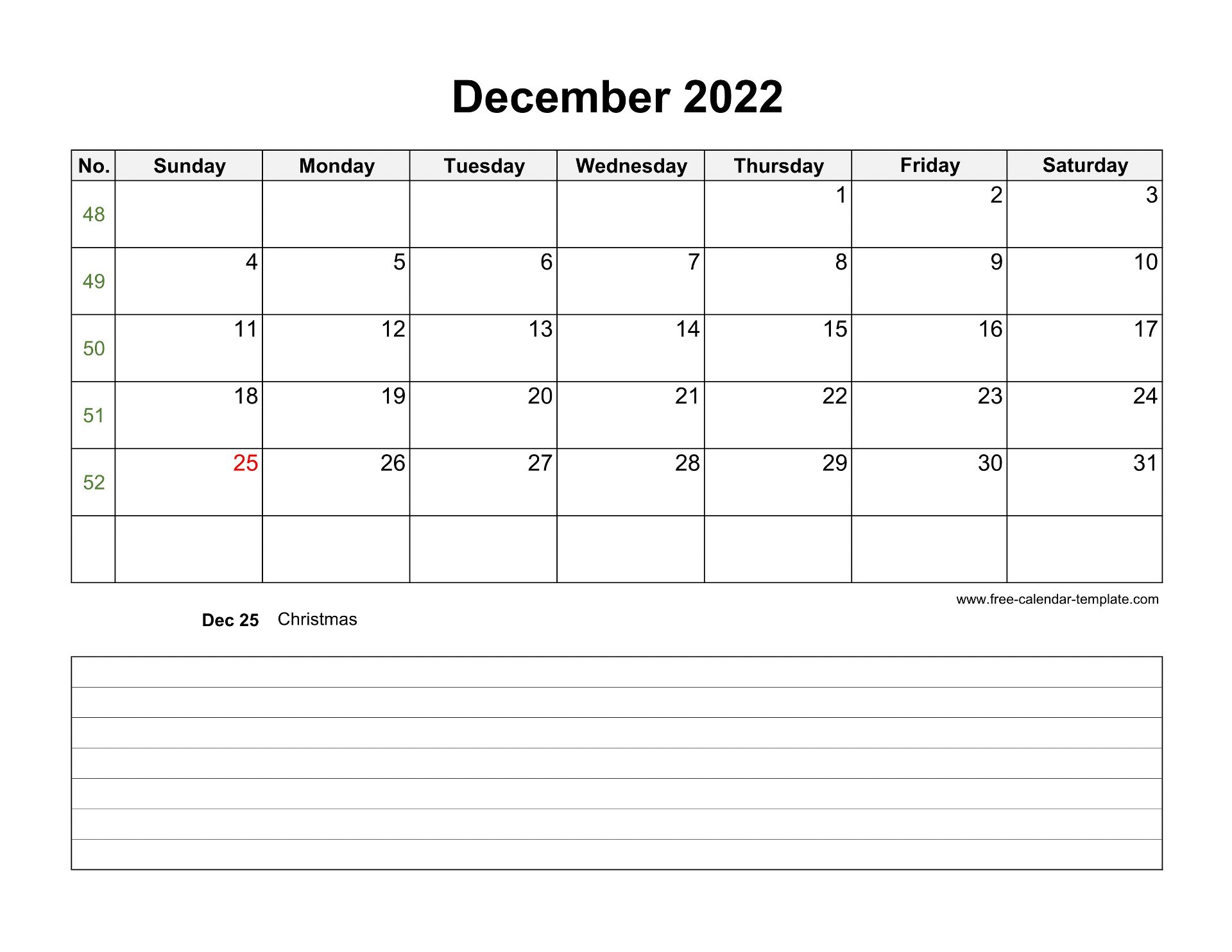 2022 Printable December Calendar with space for ...