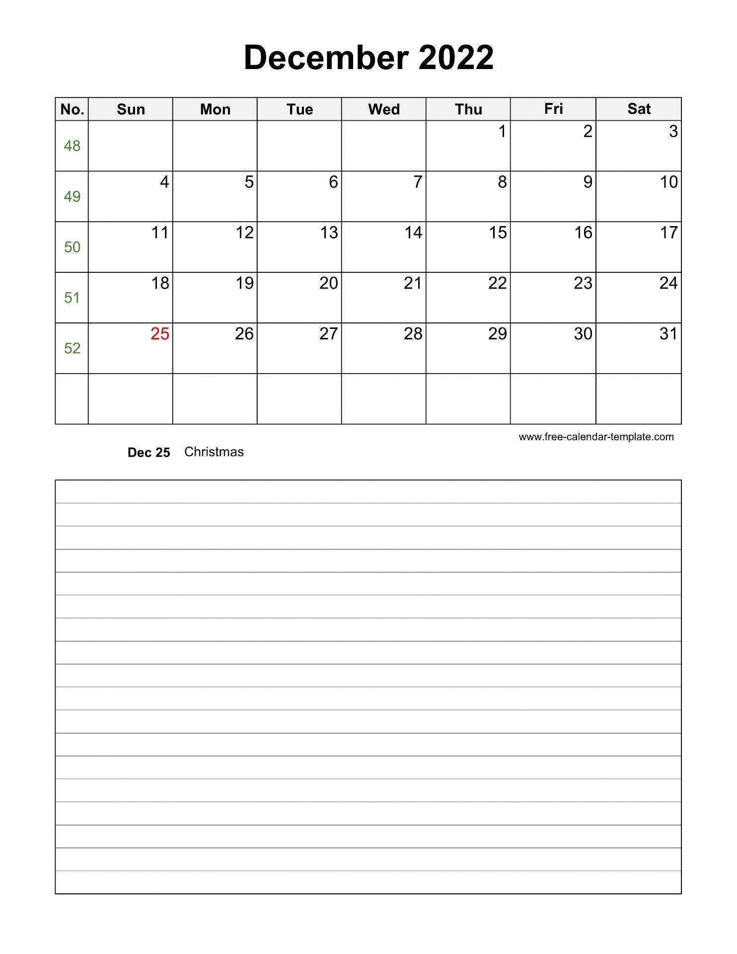 Printable December 2022 Calendar with space for ...
