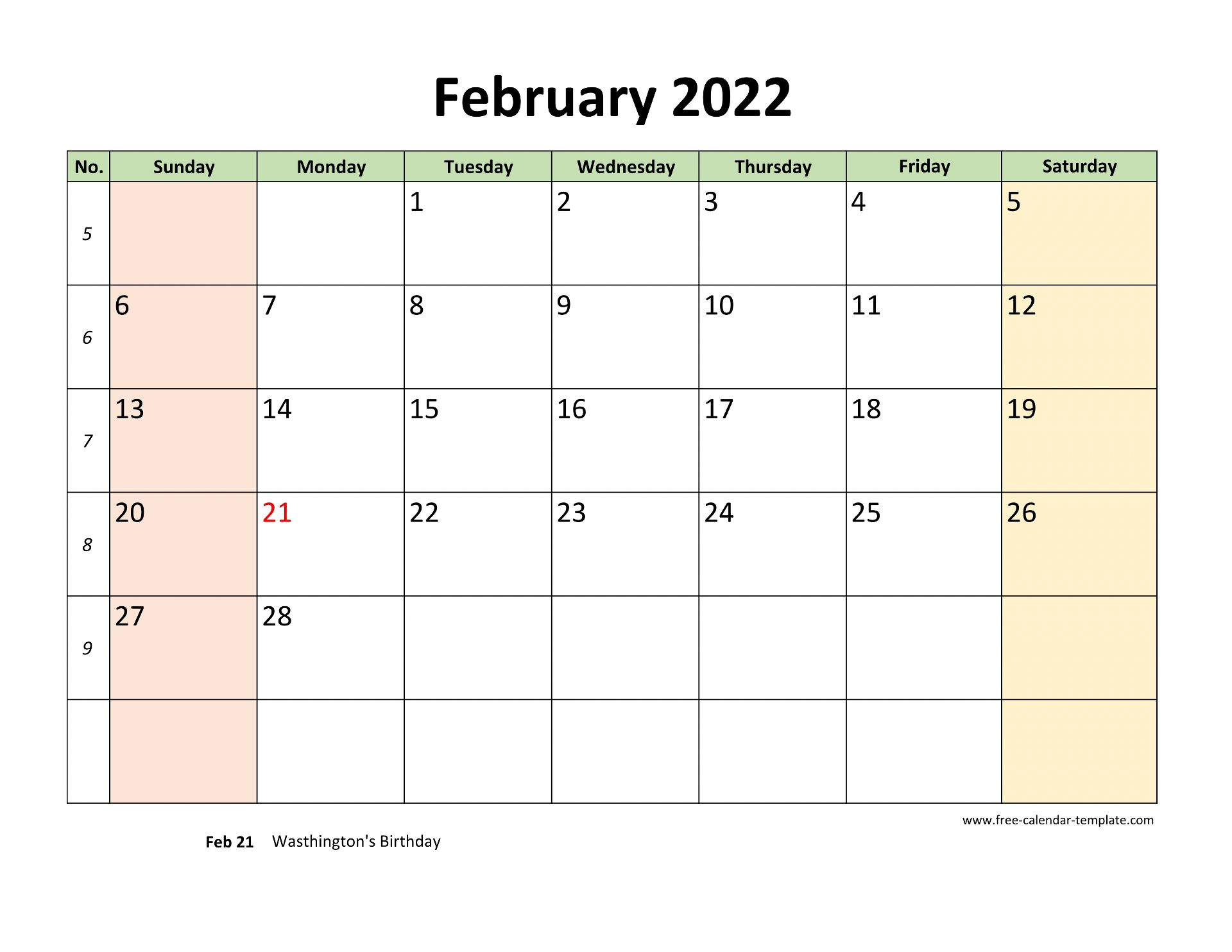 February 2022 Calendar Printable with coloring on weekend ...