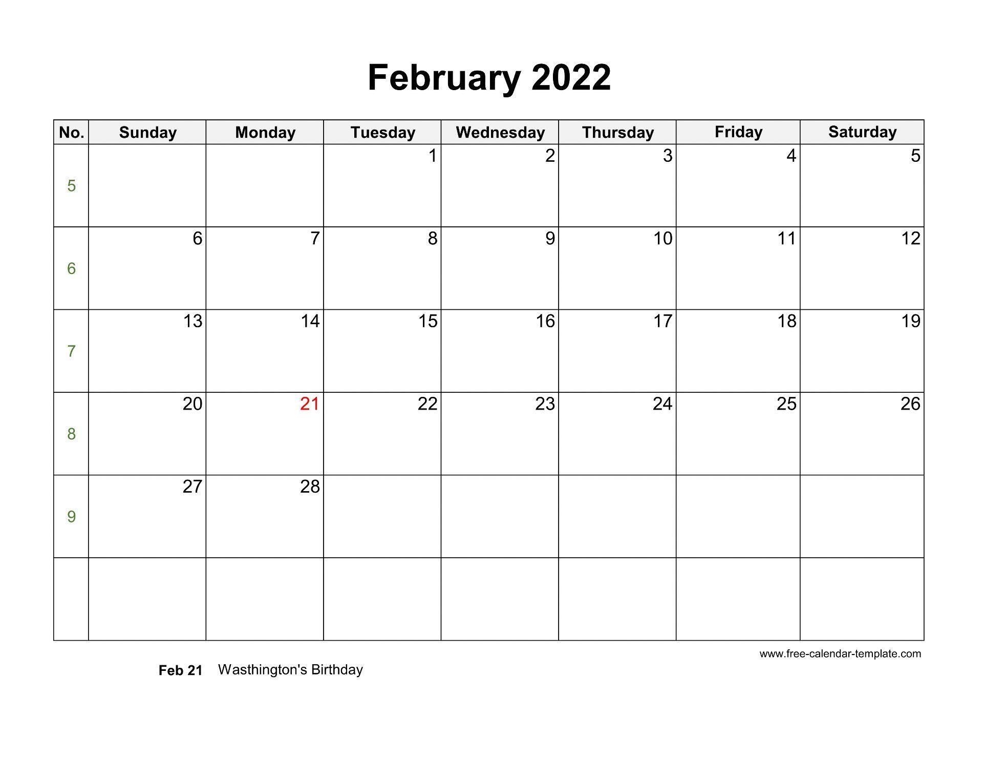 Free 2022 Calendar Blank February Template (horizontal ...