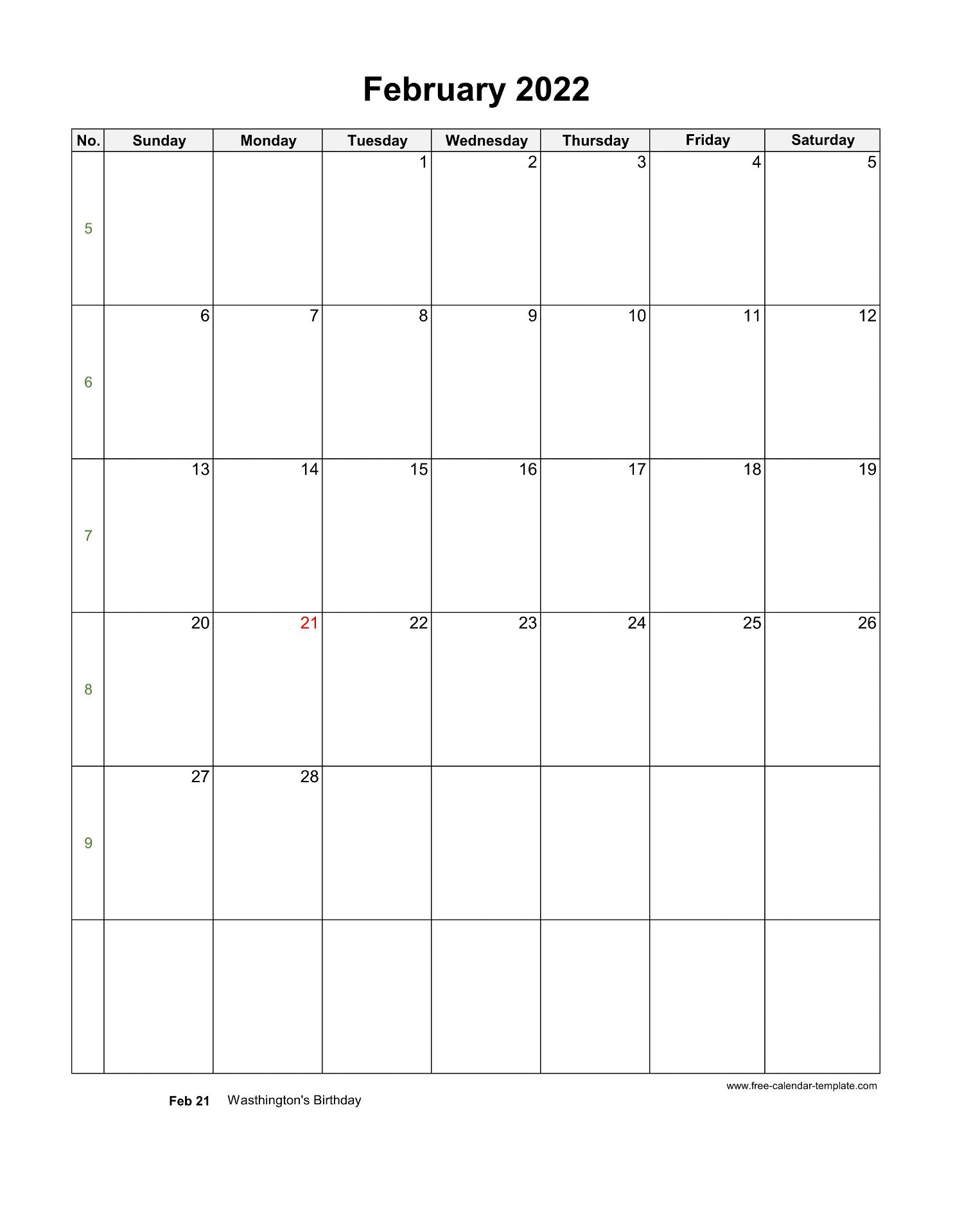 2022 February Calendar (Blank Vertical Template) | Free ...