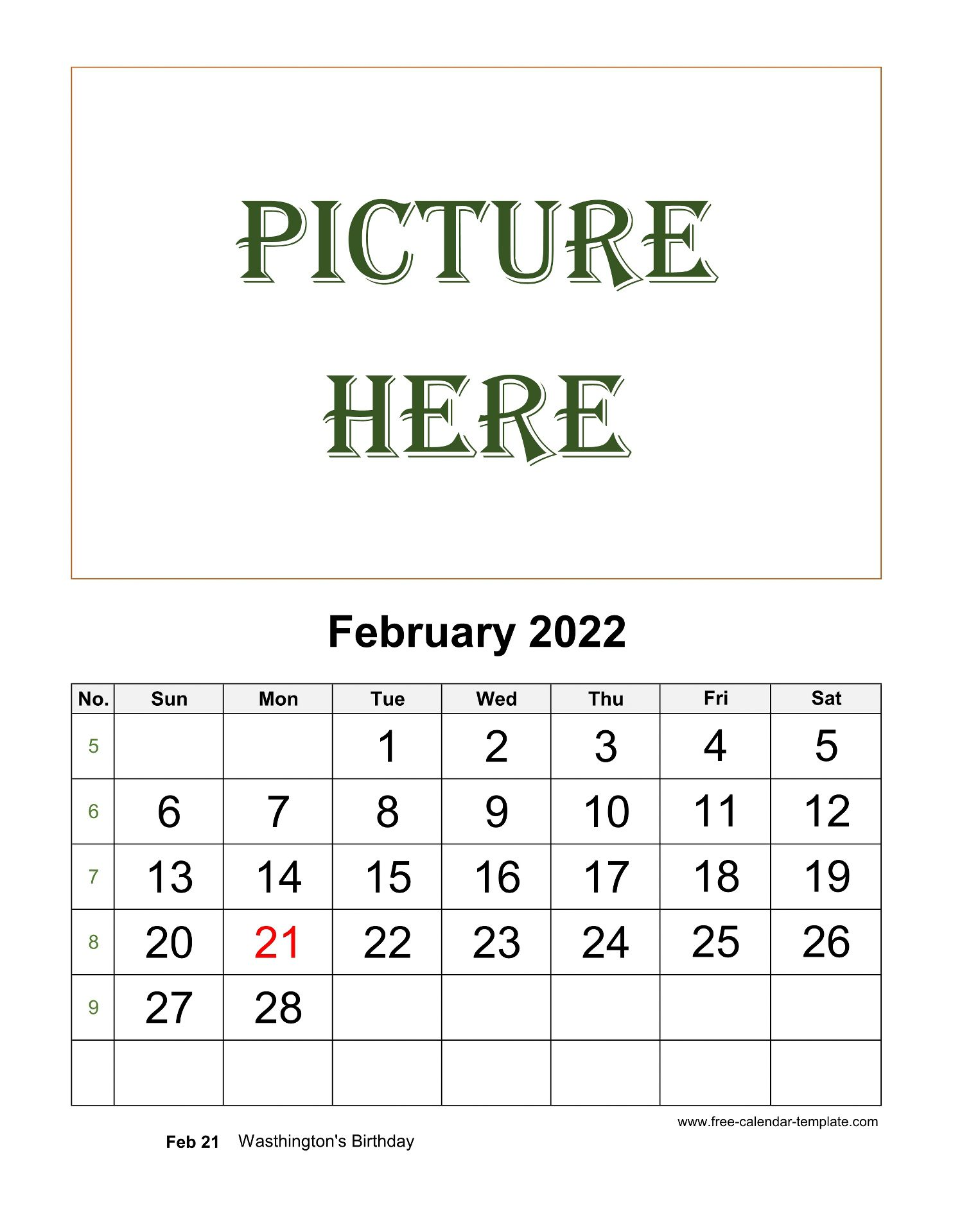 We are providing february 2022 printable calendar to all our regular readers and users. February Printable 2022 Calendar, space for add picture ...