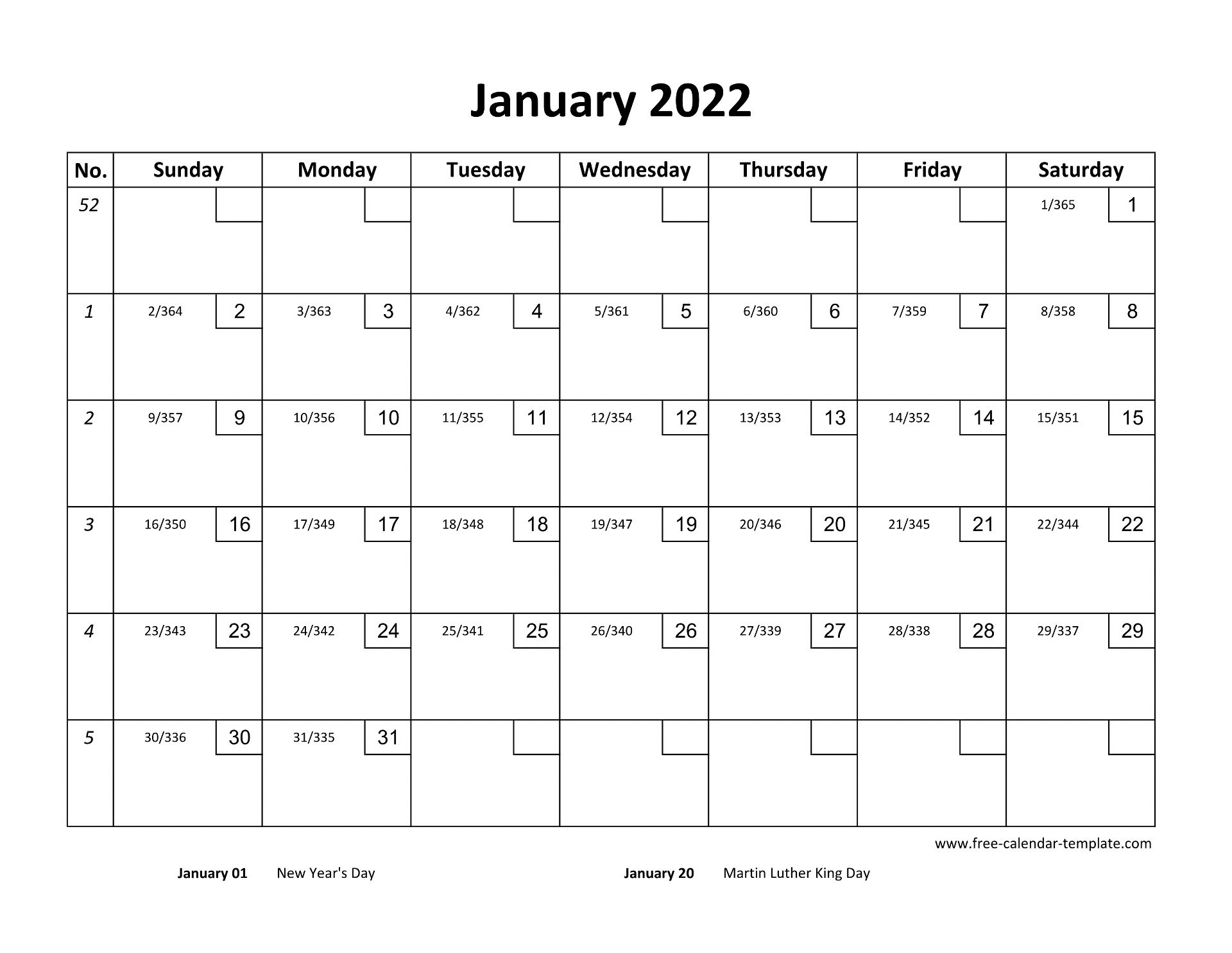 January Calendar 2022 Printable with checkboxes ...