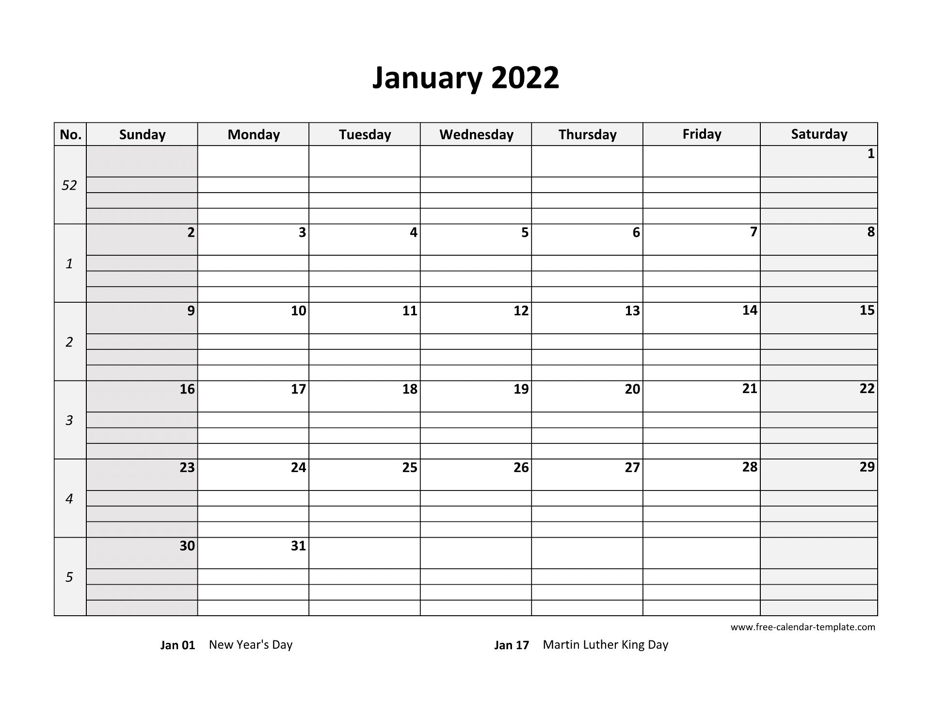 January 2022 Calendar Free Printable with grid lines ...