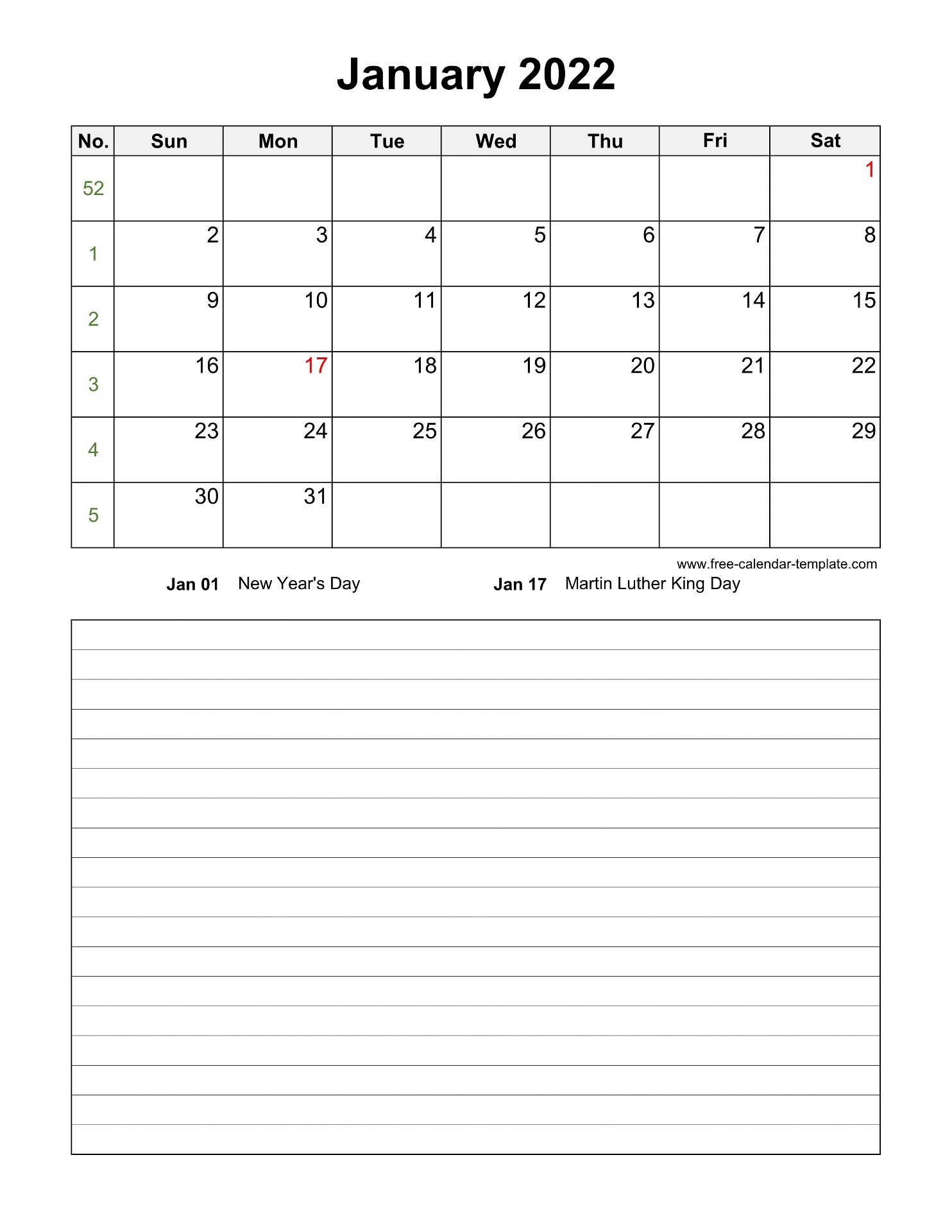 Printable January 2022 Calendar with space for ...