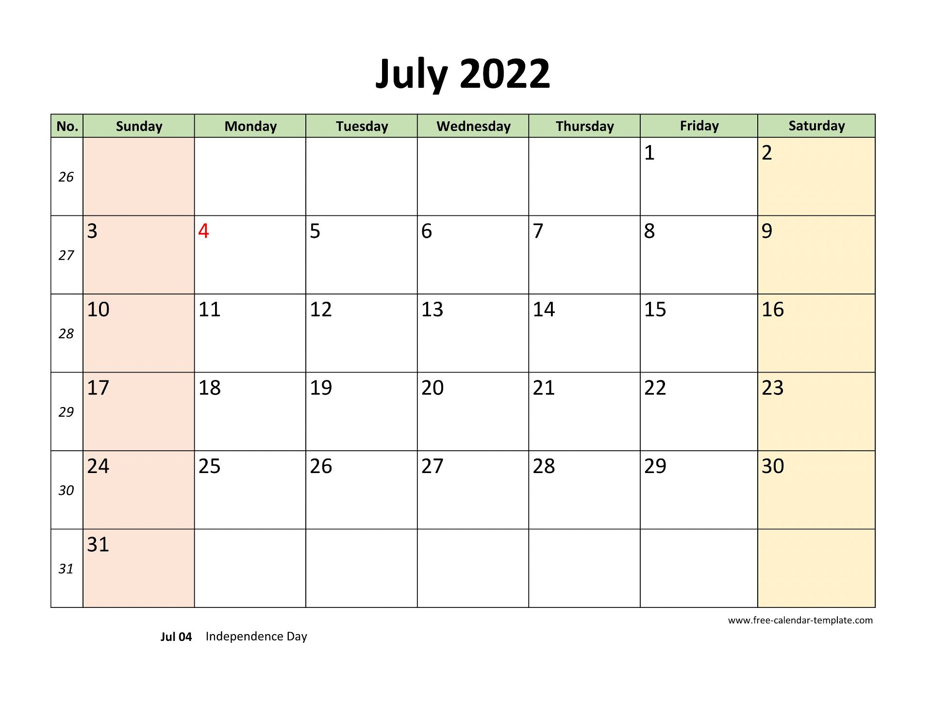 July 2022 Calendar Printable with coloring on weekend ...