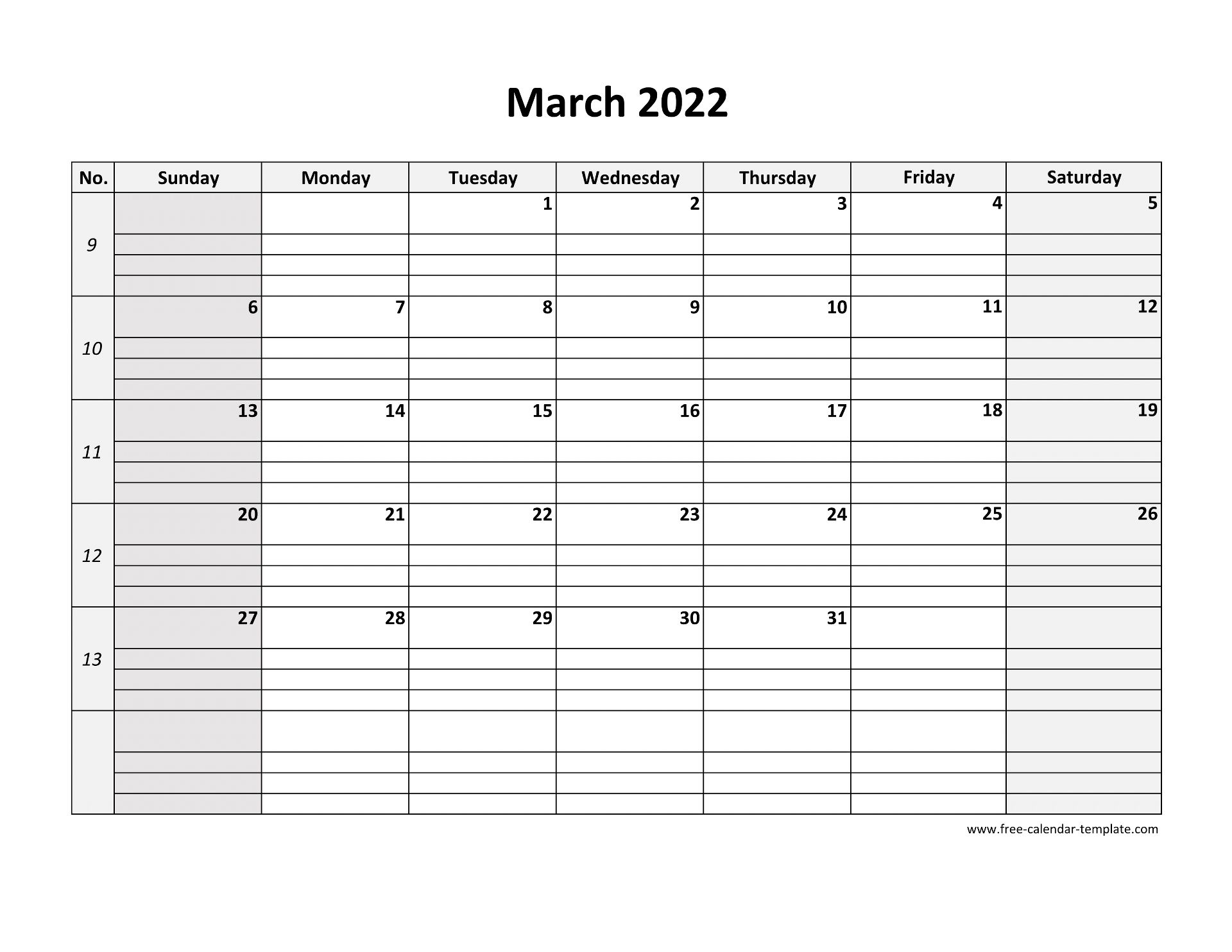 We all love holidays since these are some of the quality free days. March 2022 Calendar Free Printable with grid lines ...