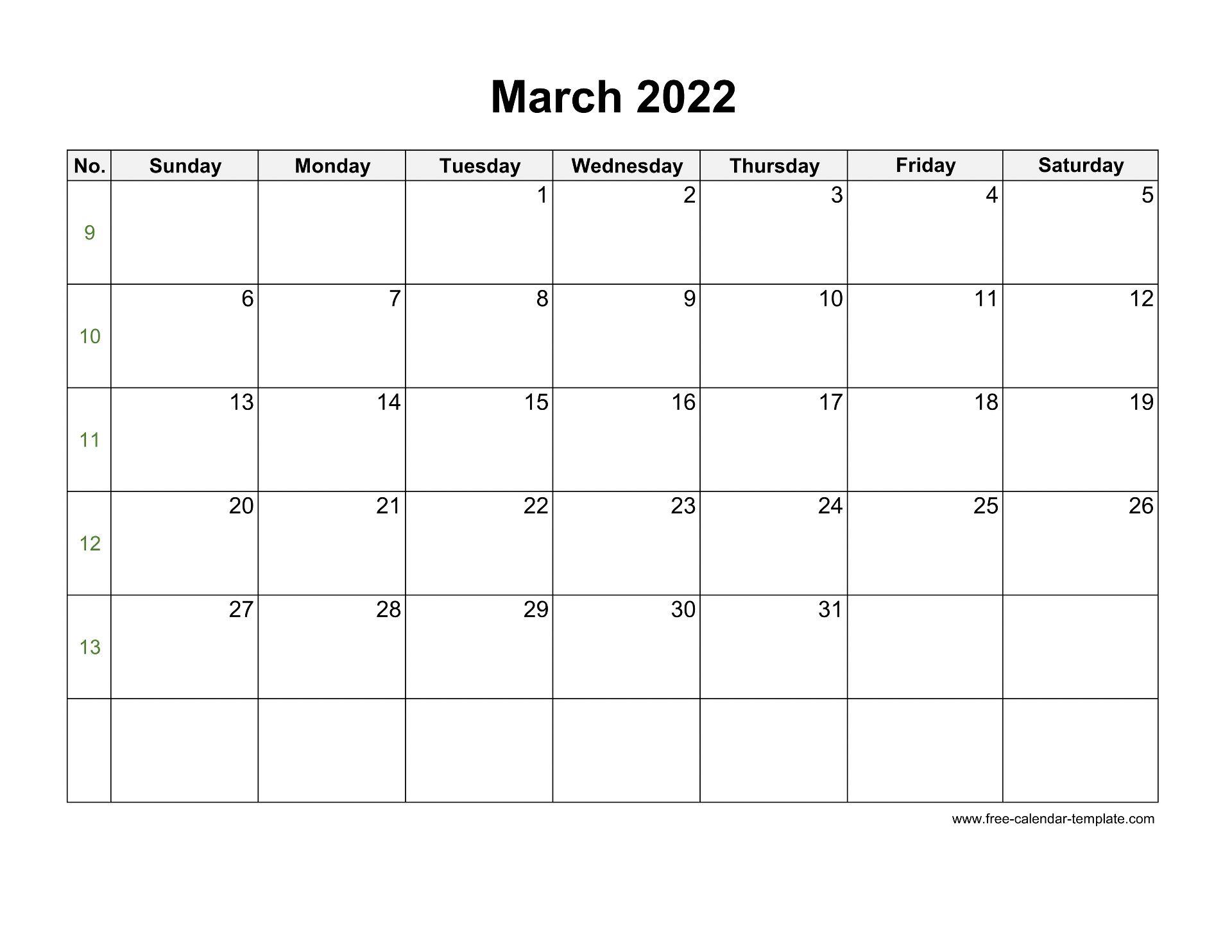 Free 2022 Calendar Blank March Template (horizontal ...