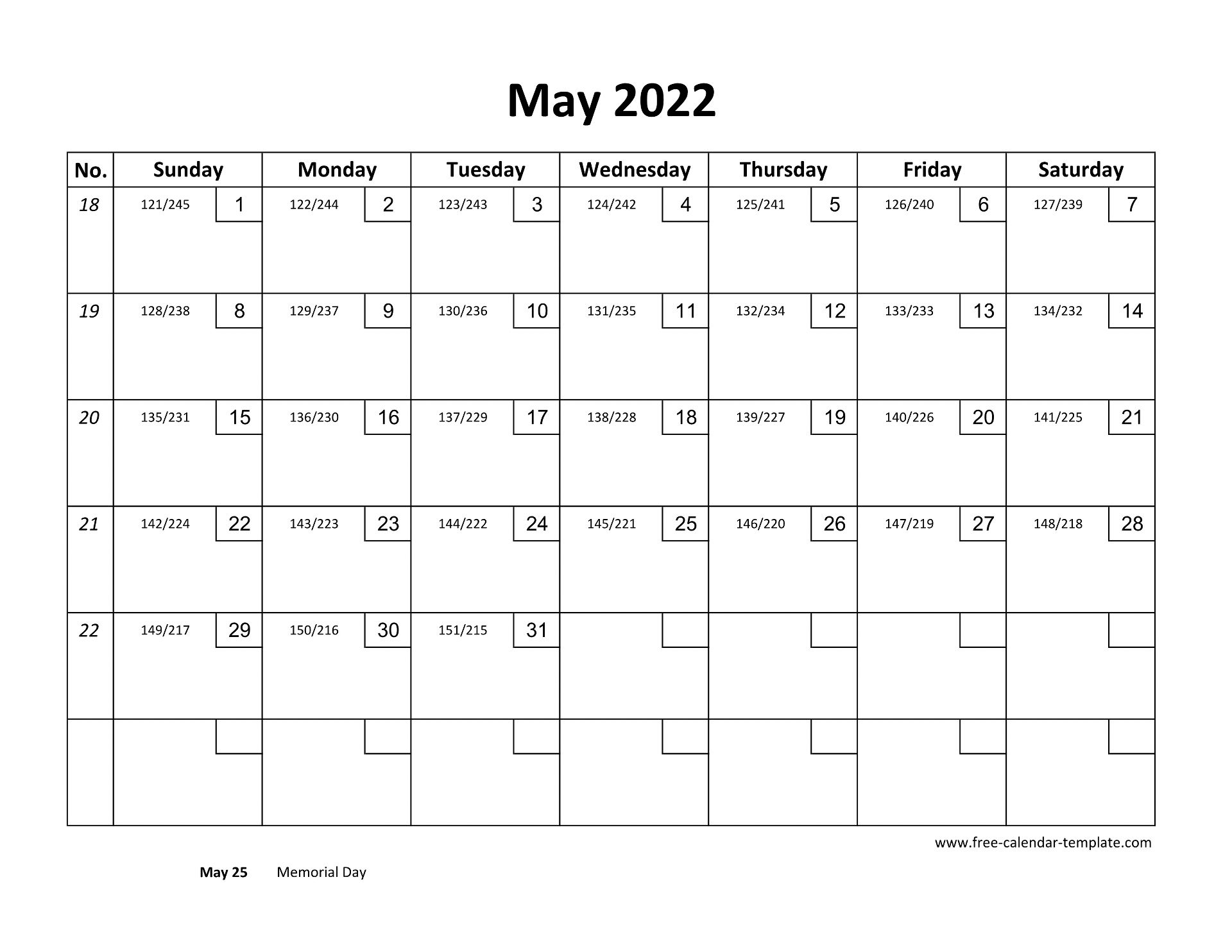 May Calendar 2022 Printable with checkboxes (horizontal ...