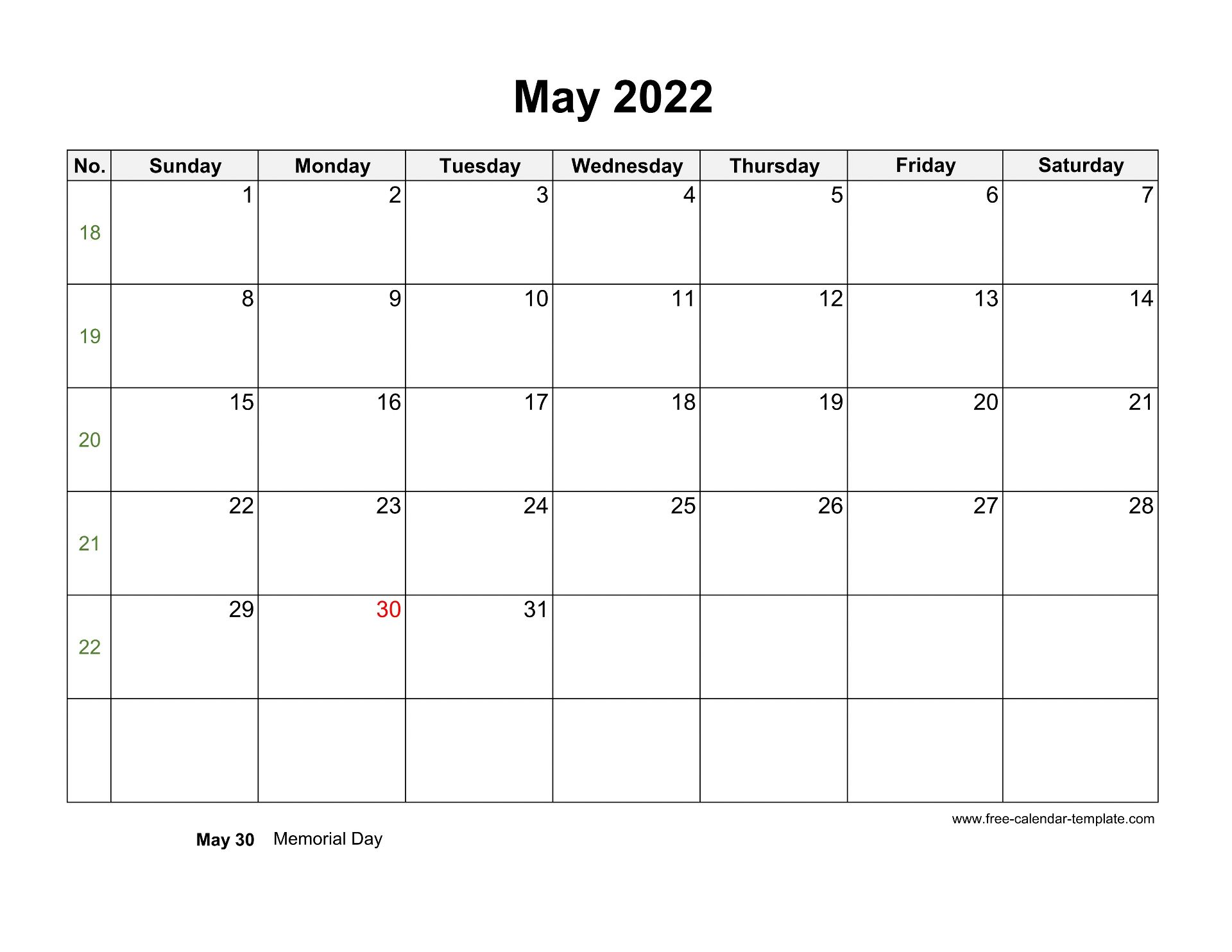 Free 2022 Calendar Blank May Template (horizontal) | Free ...