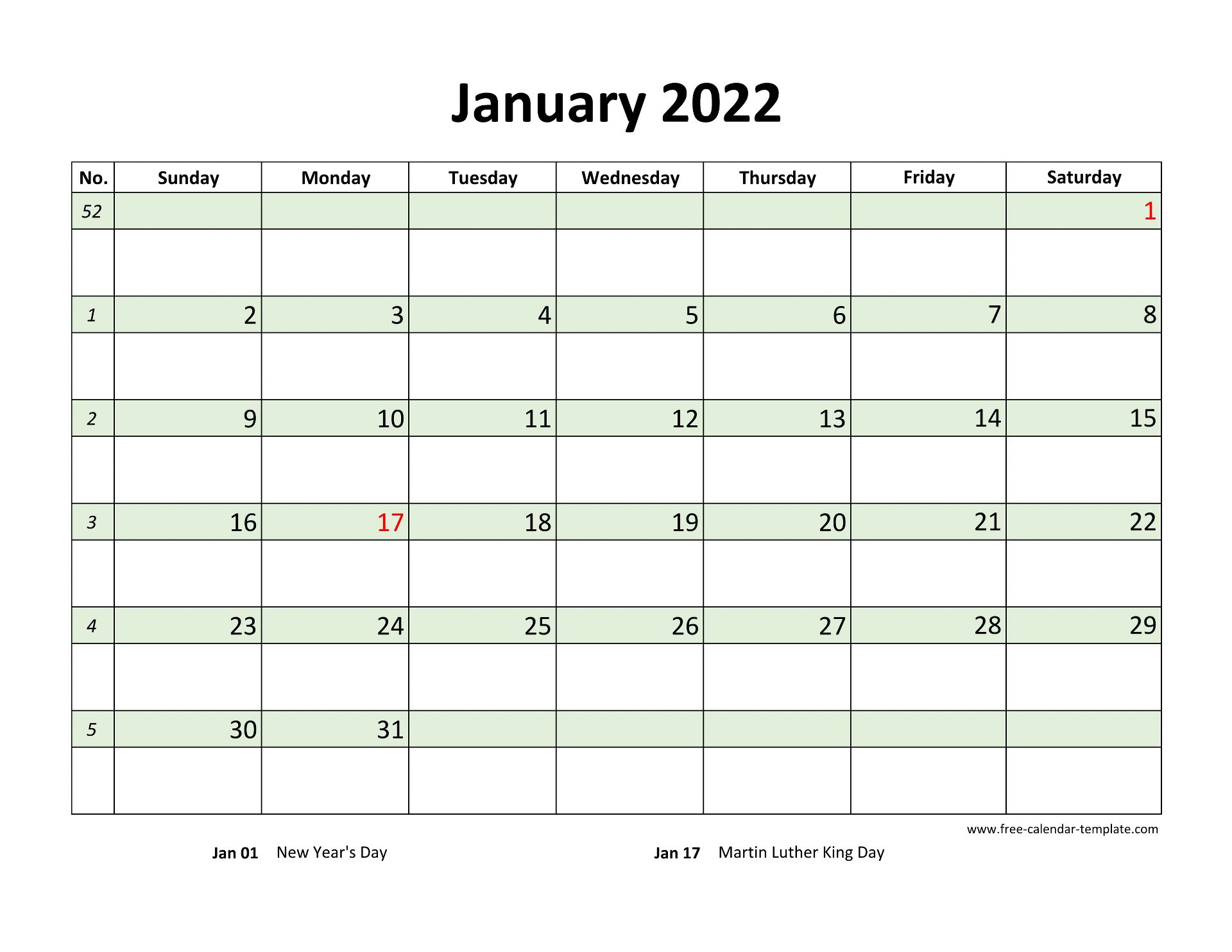 Free Monthly 2022 Calendar, coloring on each day ...