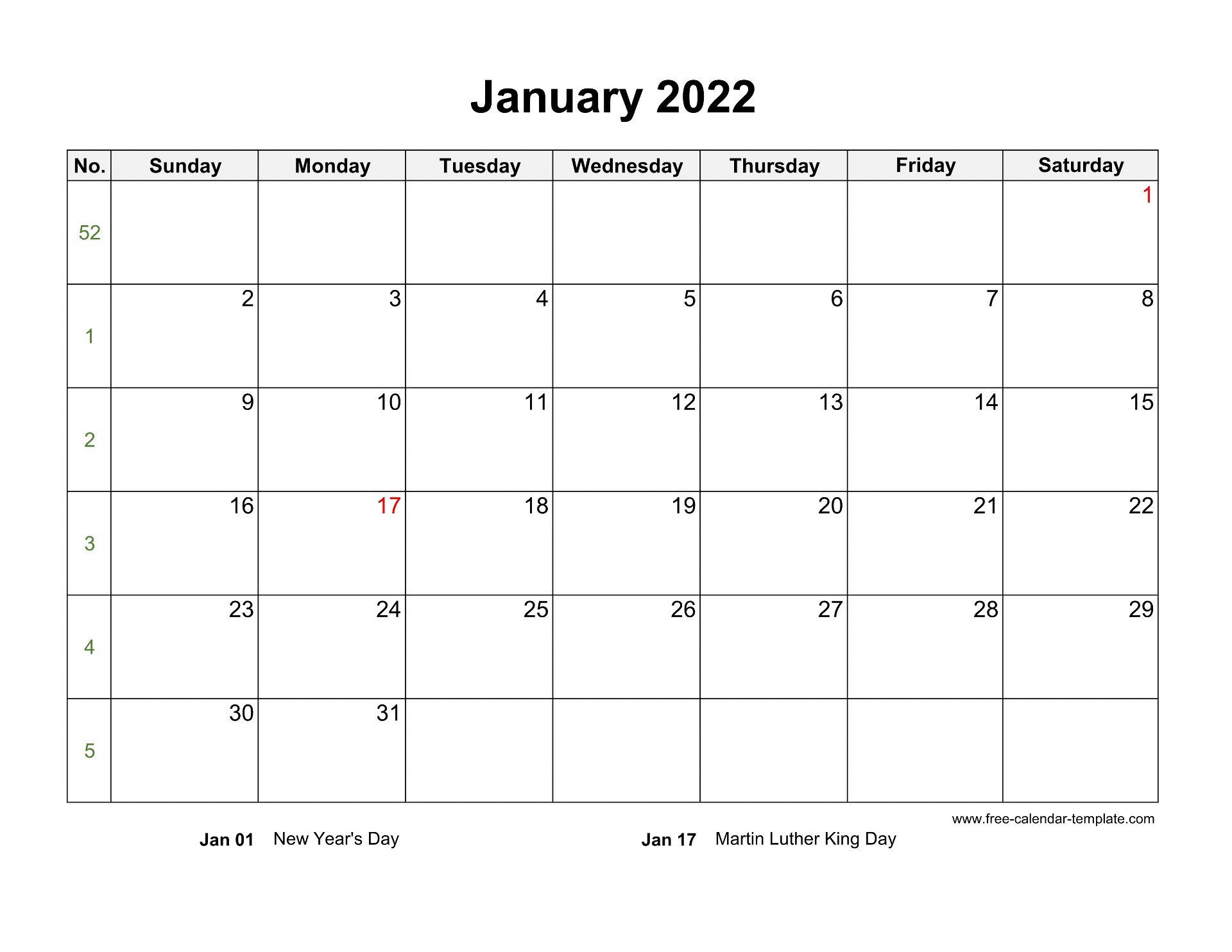 Free 2022 Calendar Blank Monthly Template (horizontal ...